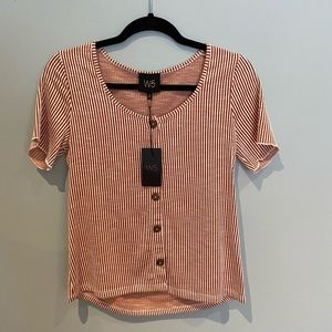Anthro W5 Concepts Striped T-Shirt with Buttons, S